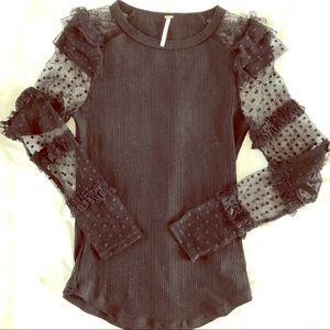 Free People Black Long sleeve top. With fun arms